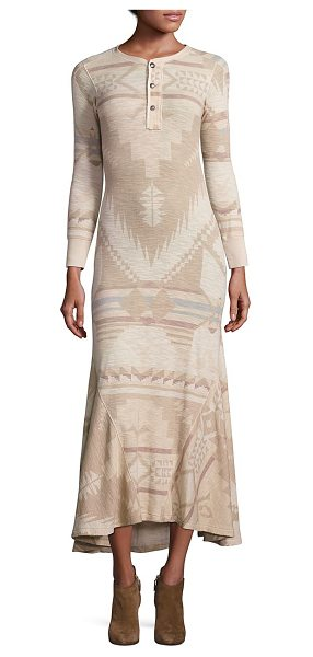 Polo Ralph Lauren cotton printed henley maxi dress in cream - Cotton waffle-knit chic dress enhanced with desert tones...