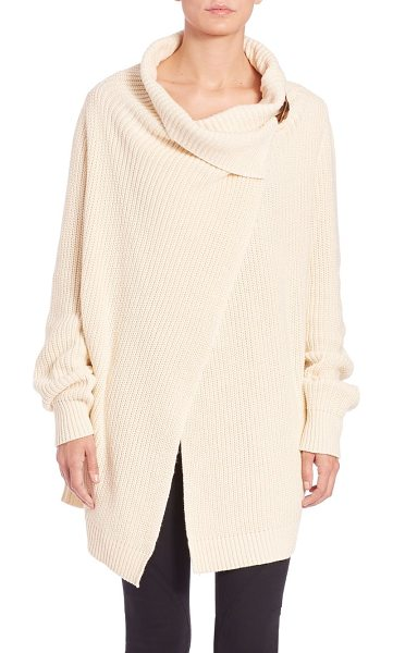 Polo Ralph Lauren Cotton wrap cardigan in cream - This long, chunky ribbed knit is styled for ease with a...