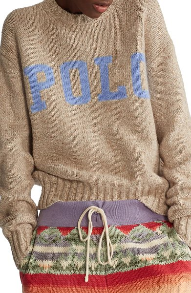 Polo Ralph Lauren donegal wool & cotton blend sweater in brown