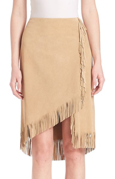 Polo Ralph Lauren fringed suede wrap skirt in hemp - Swinging fringed trim spotlights the asymmetrical hem of...