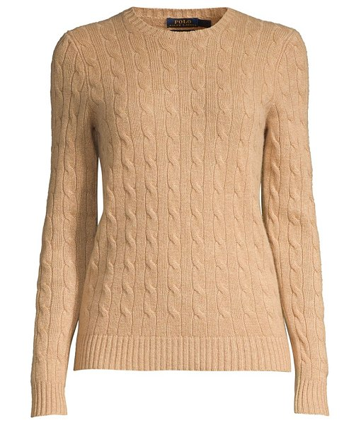 Polo Ralph Lauren julianna slim-fit cashmere & wool cable knit sweater in camel melange