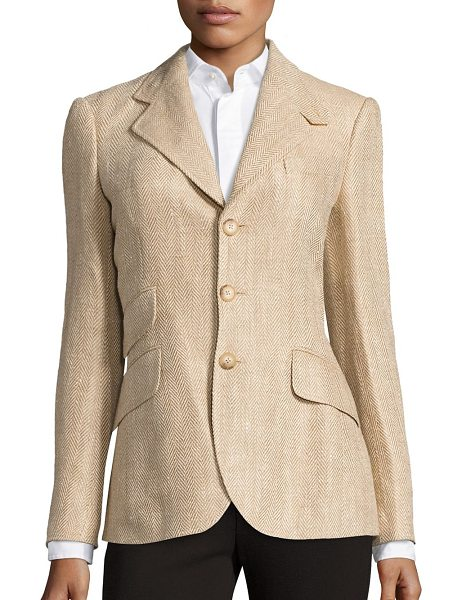 Polo Ralph Lauren linen herringbone hacking blazer in tan - Taking its cues from classic hacking silhouettes, this...