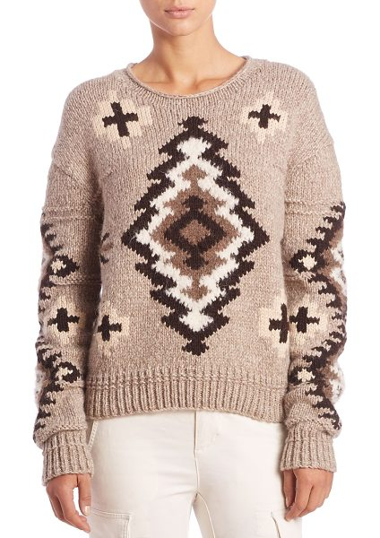 Polo Ralph Lauren Printed knit sweater in cream-multi - Geometric motif patterns oversized essentialRounded...