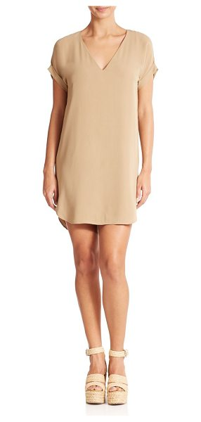 Polo Ralph Lauren Silk v-neck dress in capetownbeige - The epitome of relaxed luxury, this versatile silk dress...