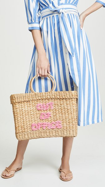 """Poolside Bags lizzy out of office"""" fringe tote"""" in pink fringe"""