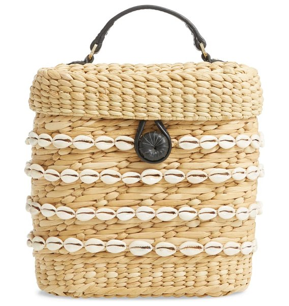Poolside the ashleigh canteen woven clutch in beige