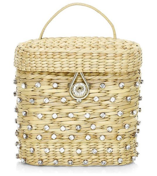 Poolside the ashleigh embellished straw canteen bag in natural
