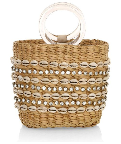 Poolside the mak shell-embellished woven tote in natural