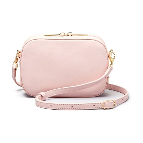 Pop & Suki personalized leather camera bag in cotton candy/ black