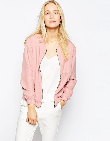 POP CPH Pop CpH Zip Cupro Blouson Bomber Jacket in pink - Jacket by Pop CpH, Super smooth, silky-feel fabric, Full...