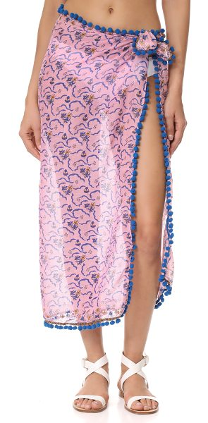 POUPETTE ST BARTH chacha pareo in germanium pink - This lightweight Poupette St Barth wrap is detailed with...