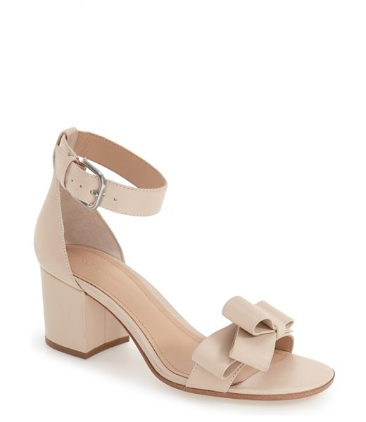 Pour la Victoire 'aimee' block heel sandal in parchment leather - A smart asymmetrical bow adorns the toe strap of this...