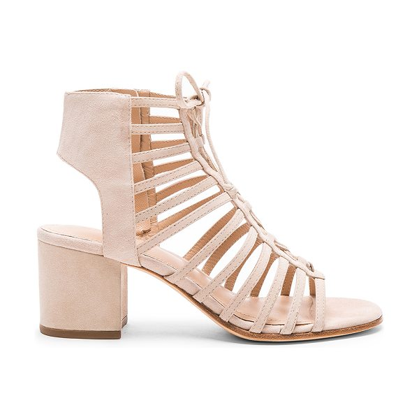 Pour la Victoire Amabelle heel in beige - Suede upper with leather sole. Lace-up front with tie...
