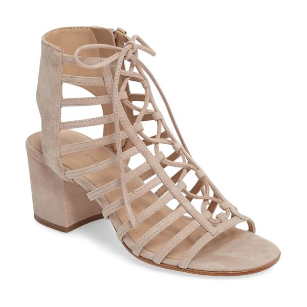 Pour la Victoire 'amabelle' lace-up sandal in sand suede - Trend-forward laces and caged cutouts style a breezy...