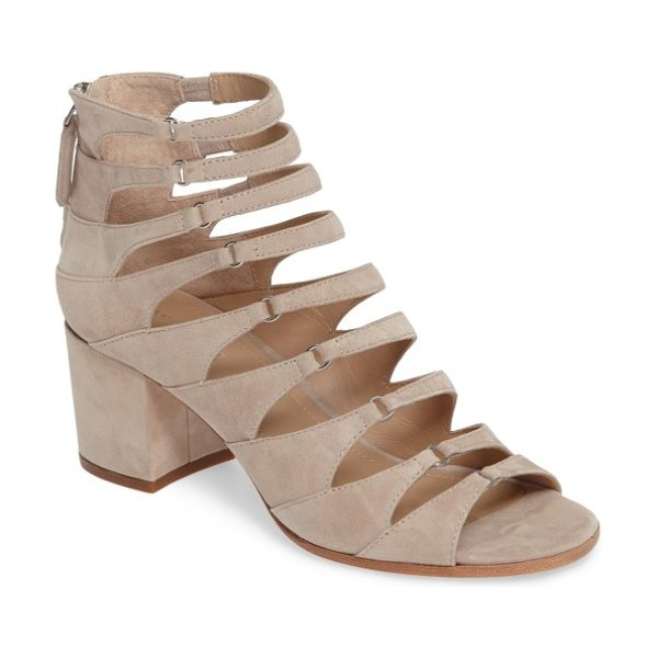 Pour la Victoire amani block heel cage sandal in sandstone - Tapered suede straps ladder gorgeously up the front of a...