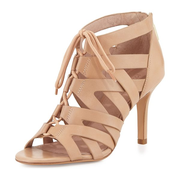 "POUR LA VICTOIRE Camila lace-up cage sandal - Pour la Victoire leather sandal. 3"" covered heel. Open..."