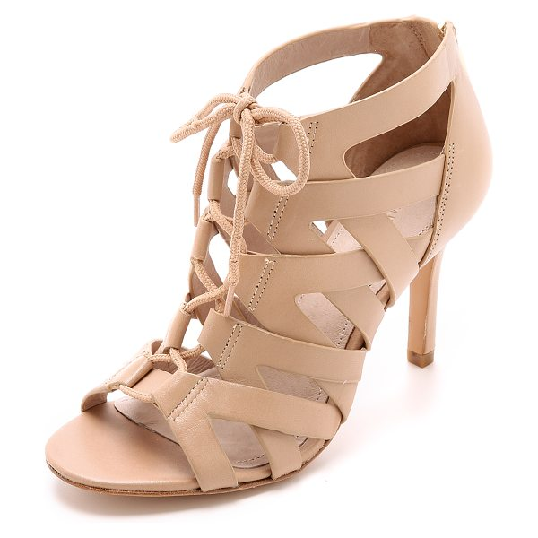 Pour la Victoire Camila lace up sandals in nude - Woven laces join the crisscross leather bands on these...