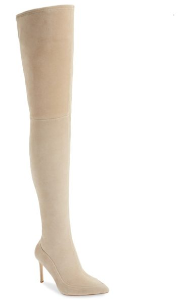 Pour la Victoire cassie thigh high boot in sandstone suede - The stretchy, fitted shaft of this pointy-toe stiletto...