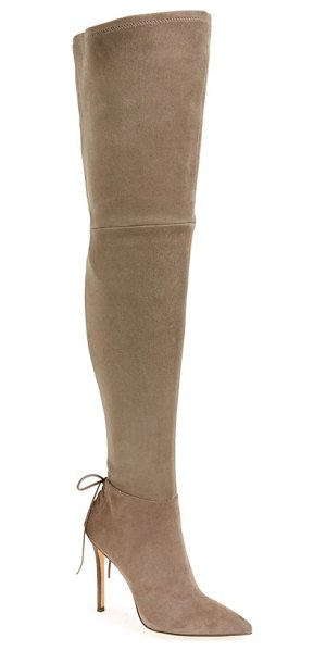 Pour la Victoire 'caterina' over the knee boot in taupe suede - Decorative laces at the back highlight the slim stiletto...