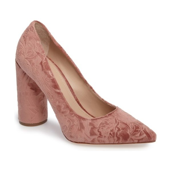 Pour la Victoire cece pump in rose velvet - A stacked column heel elevates a standby pump in a...