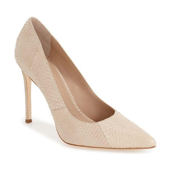 Pour la Victoire 'celeste' pointy toe pump in parchment snake print leather - A pointy-toe pump with a low-cut topline and sultry...