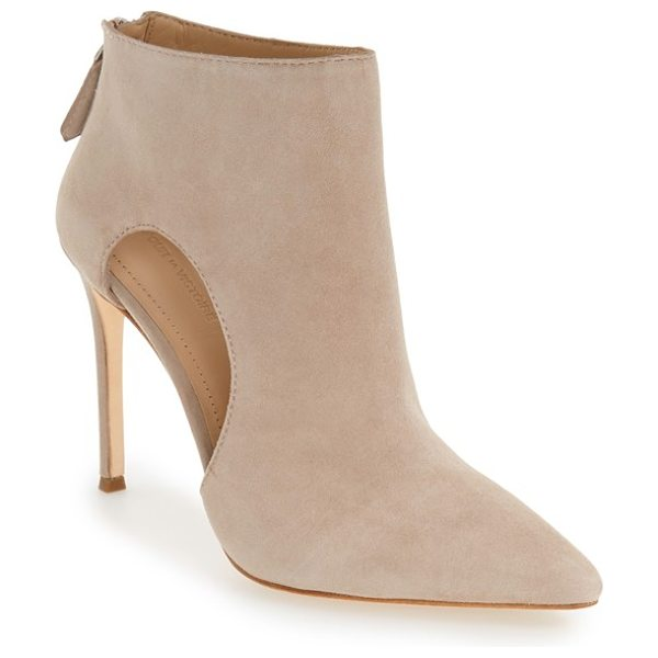 Pour la Victoire 'cierra' pointy toe bootie in taupe suede - This wardrobe-staple bootie is crafted of soft suede...