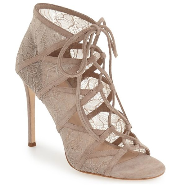 Pour la Victoire 'ellery' lace-up sandal in taupe lace - Delicate lace extends the elegant look of an alluring...