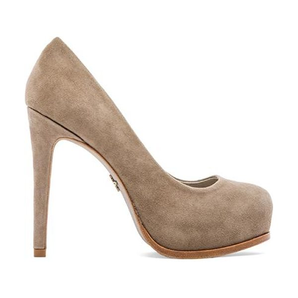 "Pour la Victoire Irina heel in taupe - Suede upper with man made sole. Heel measures approx 5""""..."