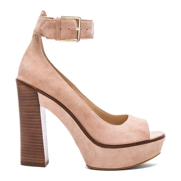 Pour la Victoire Luxe heel in blush - Suede upper with rubber sole. Ankle strap with buckle...