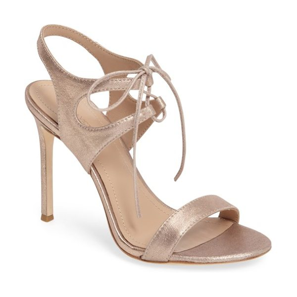 Pour la Victoire pour la victorie 'elisa' sandal in copper - A svelte, ultra-high heel grounds a sultry lace-up...