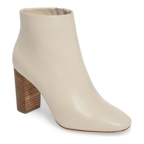 Pour la Victoire rickie crescent heel bootie in natural leather - A towering crescent-heel bootie with a slightly squared...