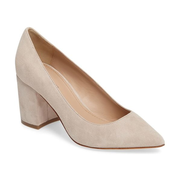 Pour la Victoire val block heel pump in sand suede - A low-cut topline and graceful pointed toe balance the...