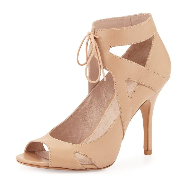 "POUR LA VICTOIRE Yanni ankle-tie leather pump - Pour la Victoire cutout leather pump. 4"" covered heel...."