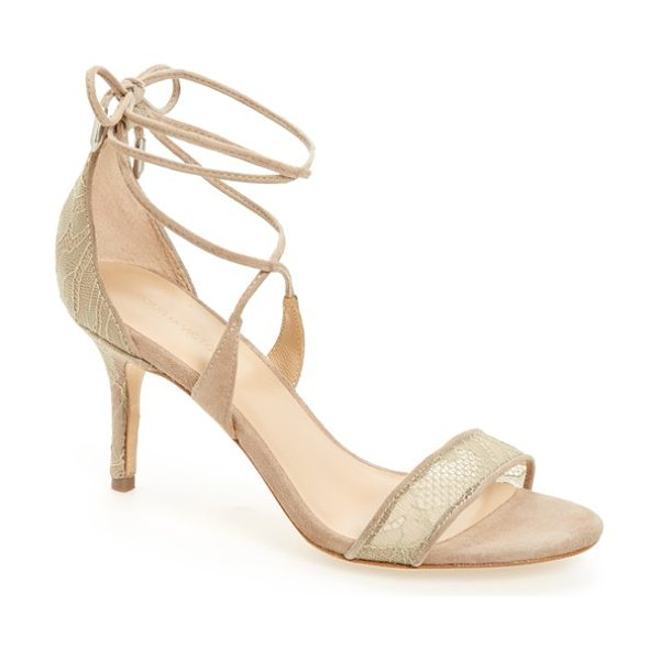 Pour la Victoire 'zahara' lace-up sandal in taupe lace - A svelte wrapped heel grounds a sultry lace-up sandal...