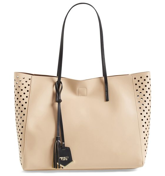 Poverty Flats By Rian Perforated faux leather shopper in tan/ brown - Perforated side panels lend a trend-right twist to a...