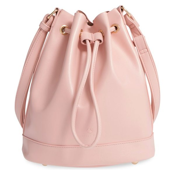 Poverty Flats By Rian Shopper faux leather bucket bag in pink - Gleaming goldtone eyelets and hardware add glam-chic...