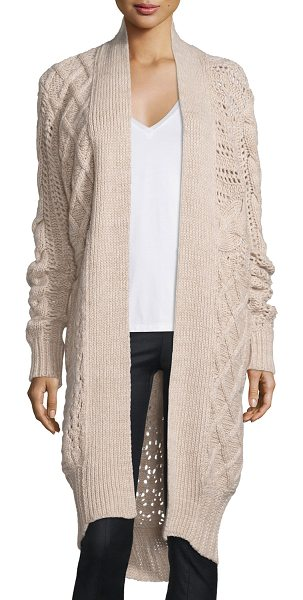 Prabal Gurung Belted Cable-Knit Cashmere Long Cardigan in camel - ONLYATNM Only Here. Only Ours. Exclusively for You....