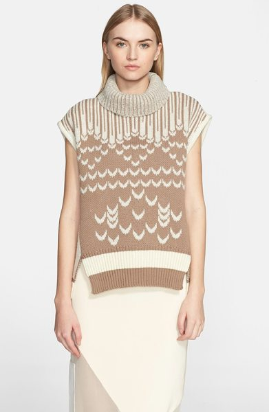 PRABAL GURUNG cap sleeve turtleneck sweater in camel - A classic Fair Isle knit gets reinvented on a...