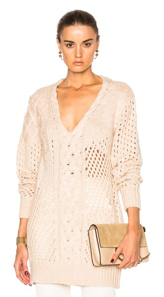 Prabal Gurung Cashmere V Neck Sweater in camel & ivory - 100% cashmere. Made in Nepal. Dry clean only. Cable knit...