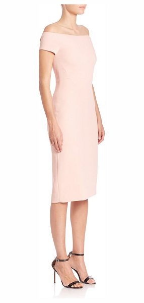 PRABAL GURUNG off-the-shoulder sheath dress in petal - Fitted sheath topped with off-the-shoulder neckline....