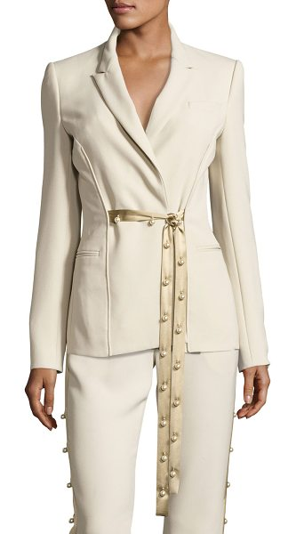 PRABAL GURUNG Pearly Tie-Front Blazer - Prabal Gurung crepe blazer. Notched collar; pearly...