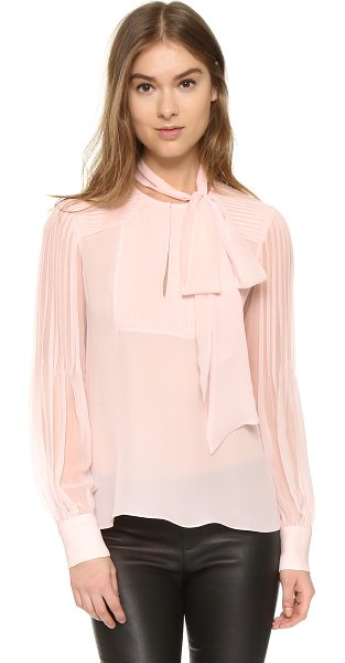 Prabal Gurung Tie neck blouse in shell - Narrow shutter pleats bring delicate detail to this airy...
