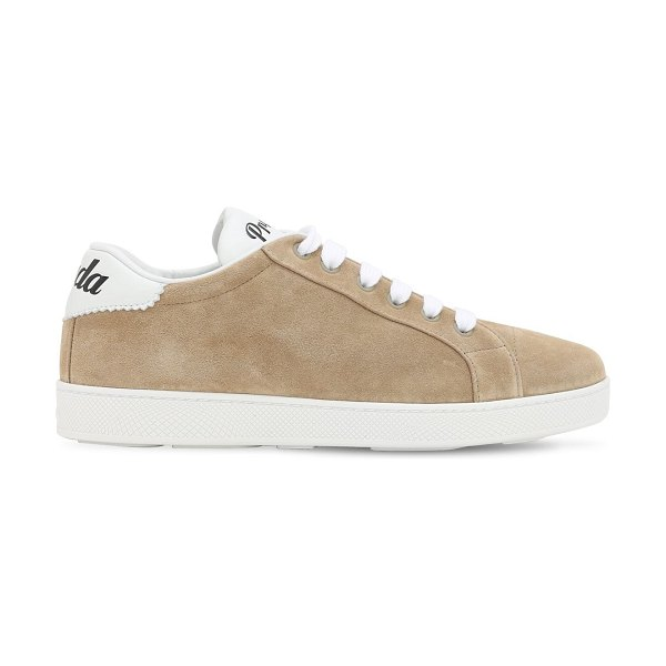 Prada 10mm  one suede & leather logo sneakers in beige