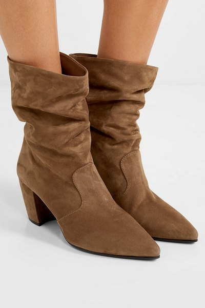 Prada 65 suede ankle boots in camel