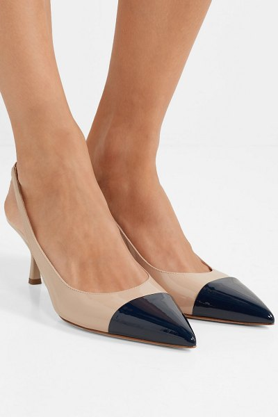 Prada 65 two-tone patent-leather slingback pumps in neutral