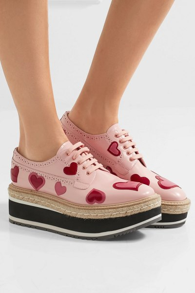 Prada appliquéd leather platform brogues in pastel pink - We love Prada's unique approach to proportion when it...