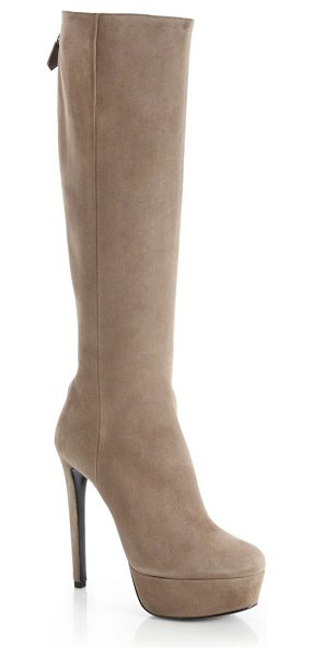 PRADA Back zip suede platform boots in beige - Sumptuous suede from Italy shapes this streamlined boot,...