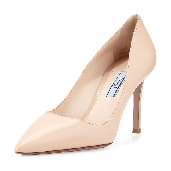 "Prada Basic patent 85mm pump in cipria - Prada patent leather pump. 3. 3"" covered heel. Pointed..."