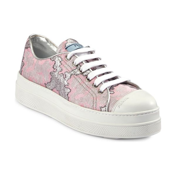 Prada brocade platform sneakers in rosa - Kick your casual style with this round toe sneakers....
