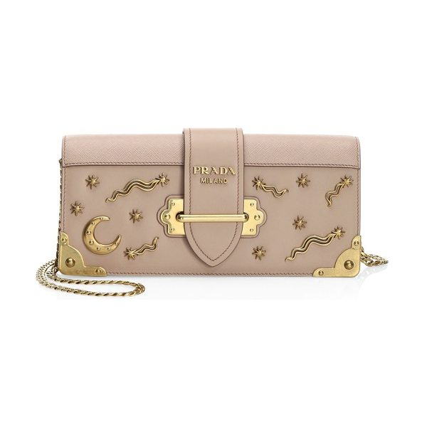 Prada cahier pochette leather crossbody in cipria